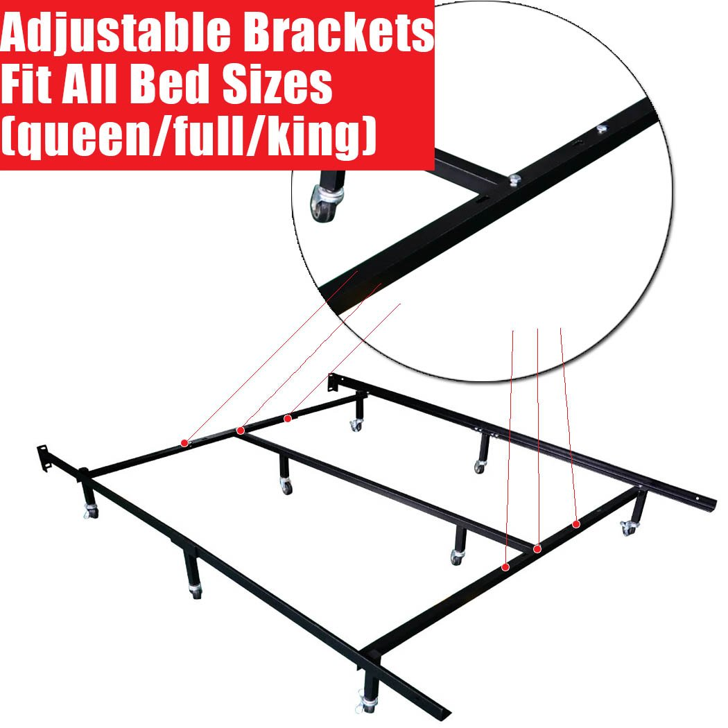 Smart 8 Wheel Metal Bed Frame 3 Adjustable Sizes Queen Diagram Fullcal King With Center Support And 4 Looking Wheels Kitchen Dining
