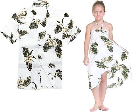 Combinación Hawaiana Luau Outfit Hombre Camisa Chica Vestido en Verde de Palma