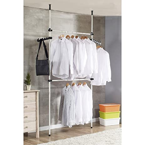 2 Poles 2 Bars Coat Hanger Portable Indoor Garment Rack Tools DIY Clothes  Wardrobe