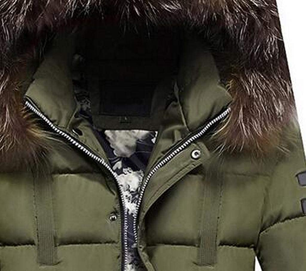 MOUTEN Mens Faux Fur Collar Relaxed Fit Hooded Winter Down Quilted Jacket Coat Parka