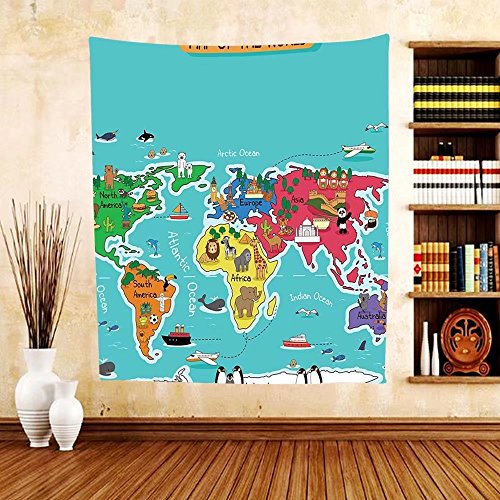 Gzhihine Custom tapestry Colorful Educational Kids Maps Decor Collection North South America Africa Asia Australia Pacific Indian Atlantic Ocean Bedroom Living Room Dorm - Map Outlets Atlantic City
