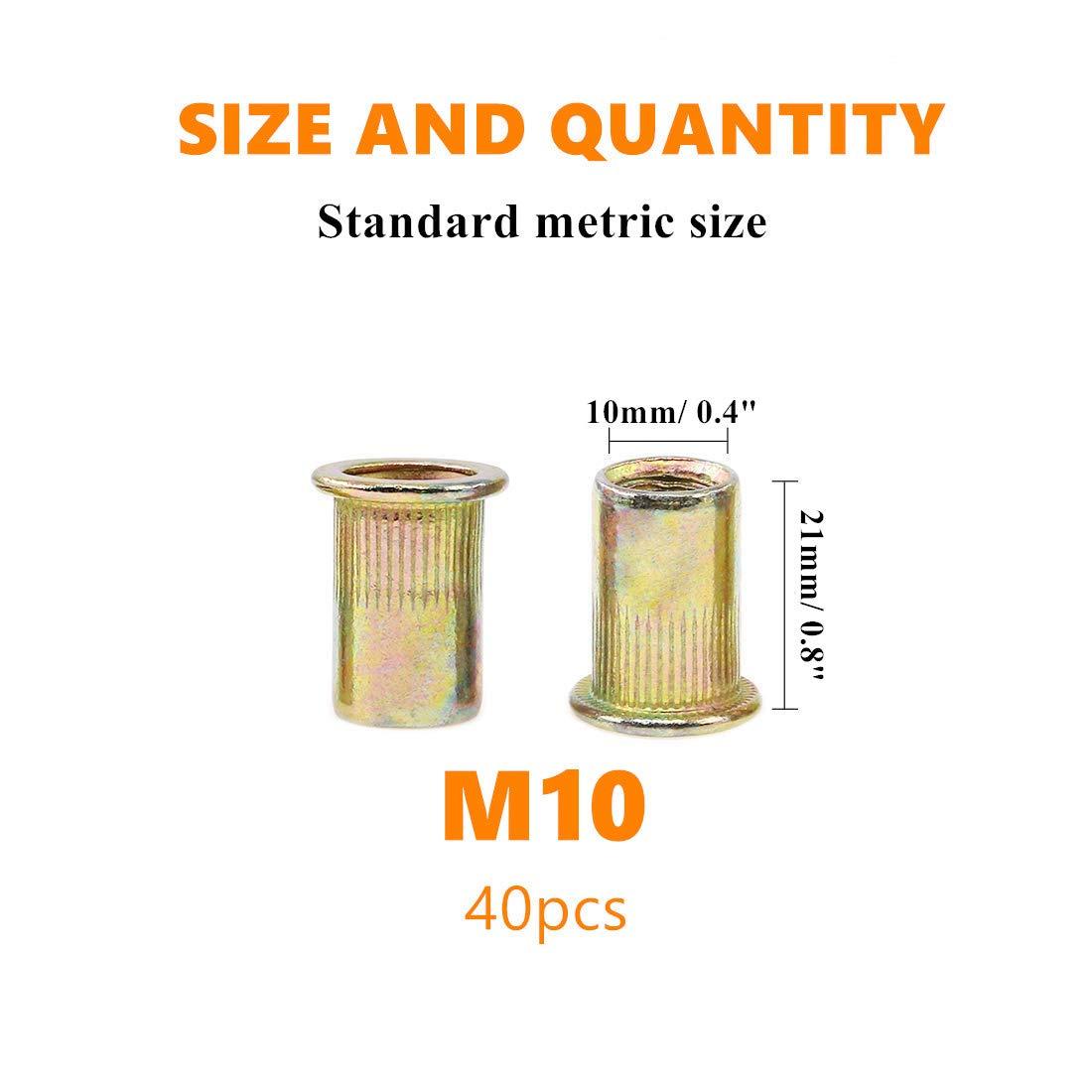 40Pcs Rivet Nut Zinc Plated Carbon Steel M10 Flat Head Standard Metric Threaded Insert Rivetnut New168