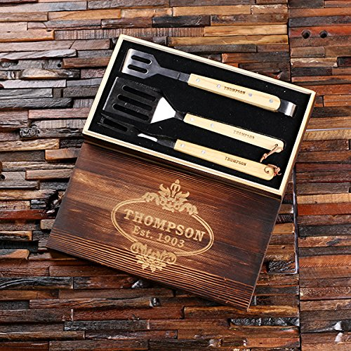 DG Personalized Barbeque BBQ Grill Tool Set with Custom Box - Add a Name or Brand - Family Housewarming Holiday Gift Set