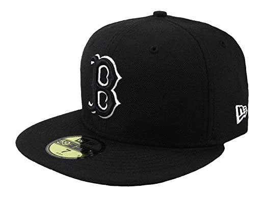 Amazon.com  New Era 59Fifty Hat MLB Cap Boston Red Sox Black White ... 80603b7a193