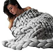 Lotus.flower Winter Warm Hand Knitted Throw Blanket, Chunky Blanket Thick Yarn Bulky Knitting Quilt