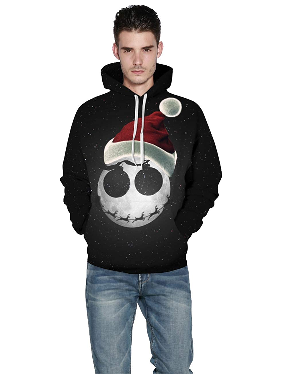 YIMIAO Felpe con Cappuccio Unisex HD Pullover di Stampa 3D Hoodie Tasche Coulisse Casual Sweatshirt.