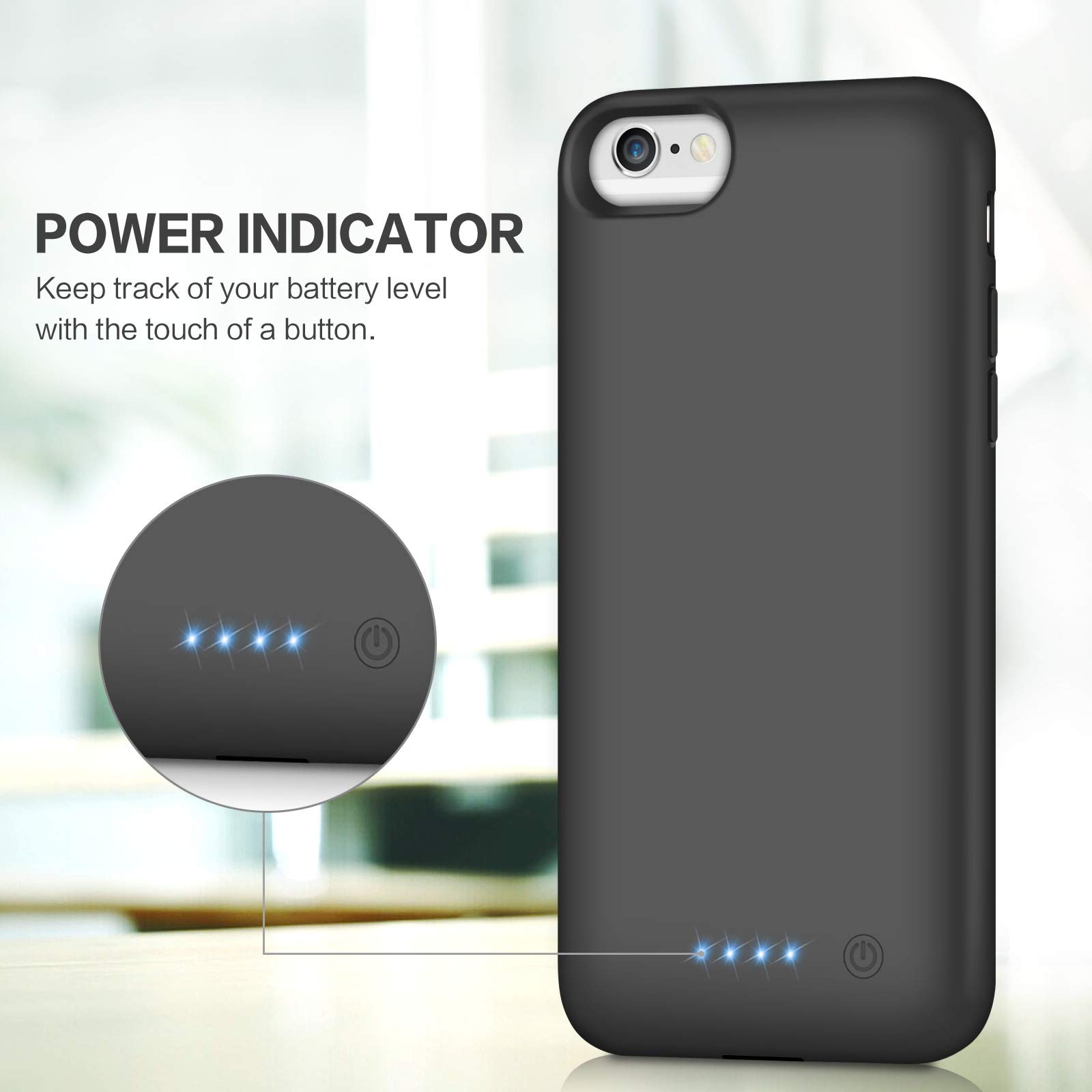 Battery Case for iPhone 6S 6,Upgraded HETP 6000mAh Rechargeable Charging Case for iPhone 6 External Battery Pack for iPhone 6S Charger Cover Apple Portable Power Bank [4.7 inch]- Black by HETP (Image #3)