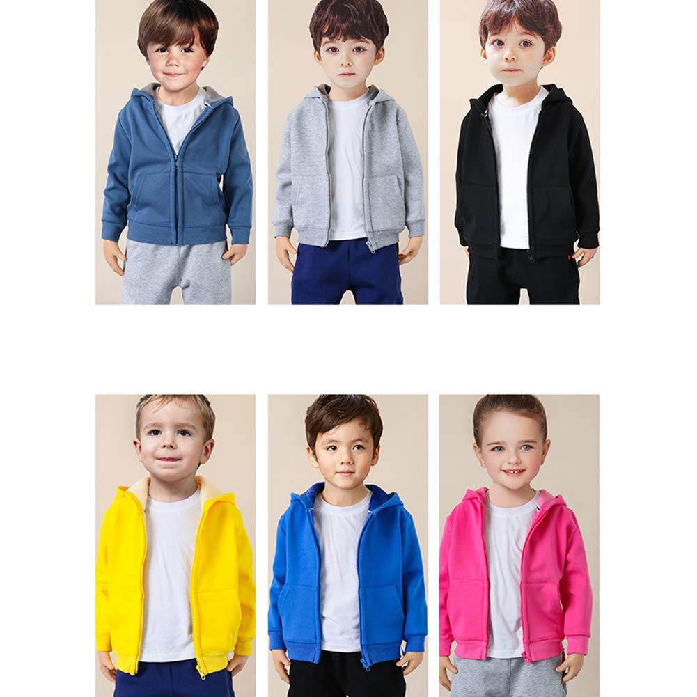Kids Boys Girls/' Premium Hooded Long Sleeve Zipper Sweatshirt Jacket Fleece Lining Warm Coat Outfit