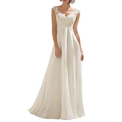 Abaowedding Women's Wedding Dress Lace Double V-Neck Sleeveless Evening Dress at Women's Clothing store