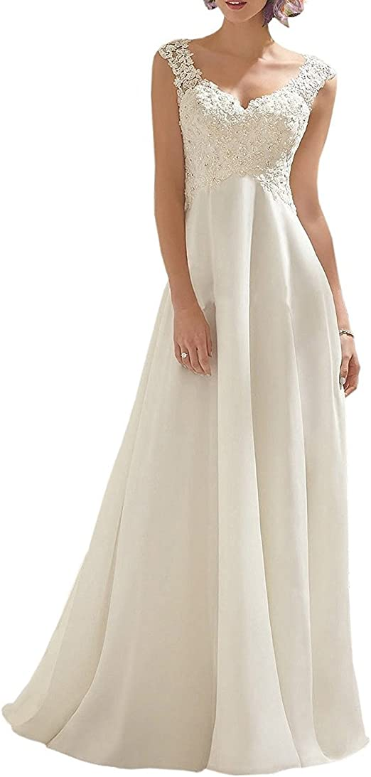 Women's Wedding V-Neck Sleeveless Dress