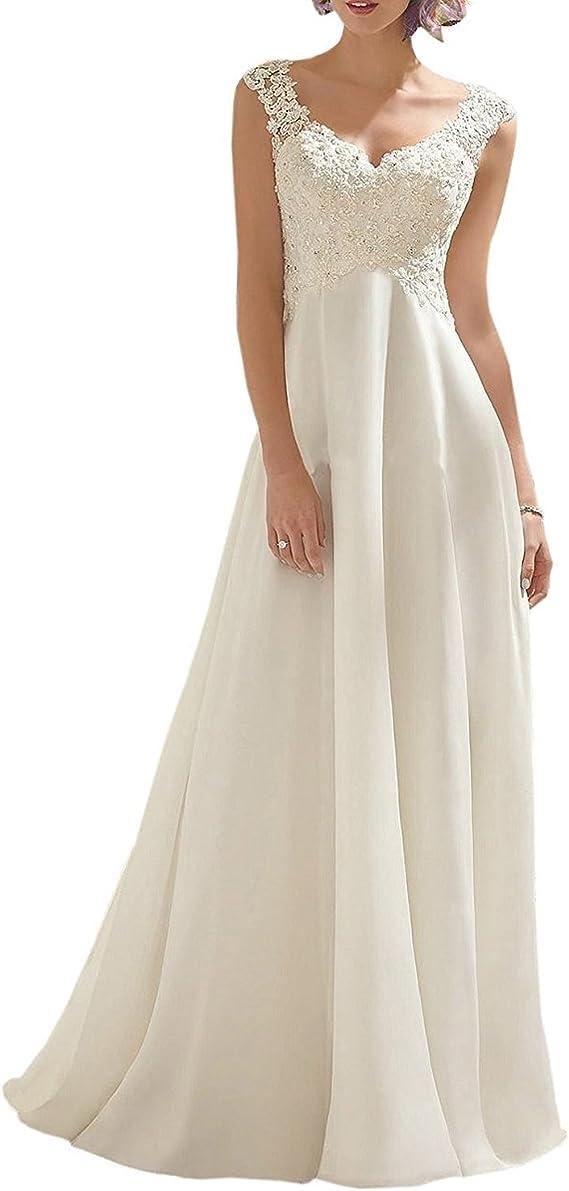 Women's Wedding Dress Lace Double V-Neck Sleeveless Evening Dress