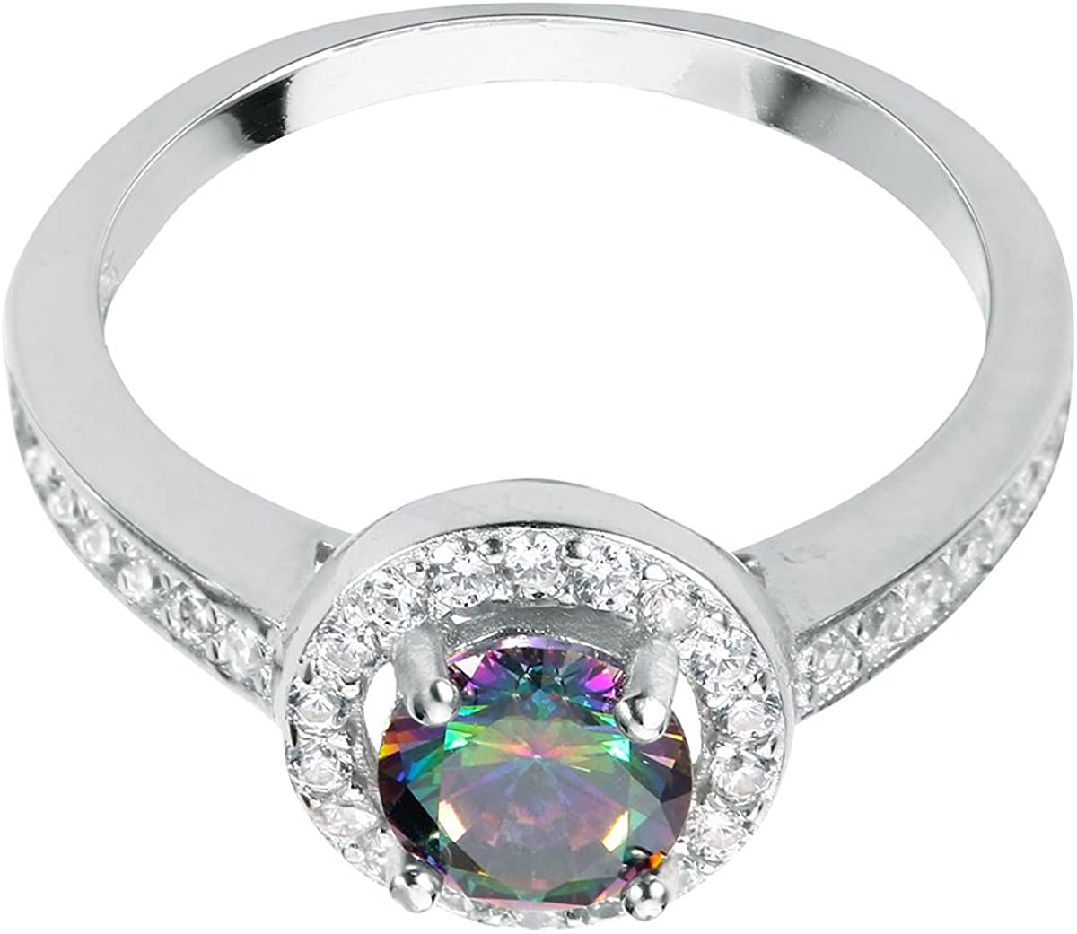 CloseoutWarehouse Oval Simulated Rainbow Topaz Cubic Zirconia Three Stones Ring Sterling Silver