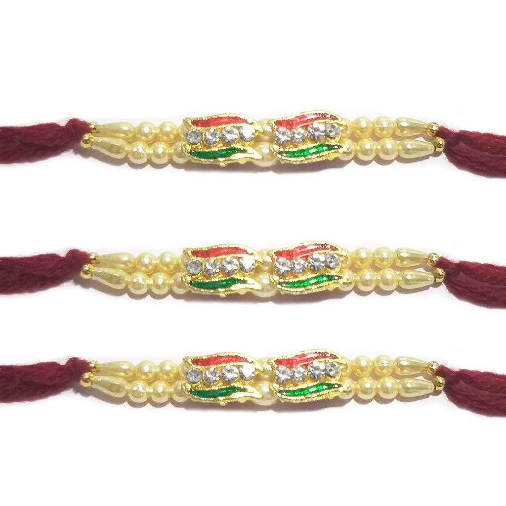 Multi Color Thread Rakhi Bracelet Traditional Rakhi for Brother Khandekar Set of 2 Multi Coloured Rakhi,Rakhi for Brother Designer Rakhi, Rakshabandhan Festival