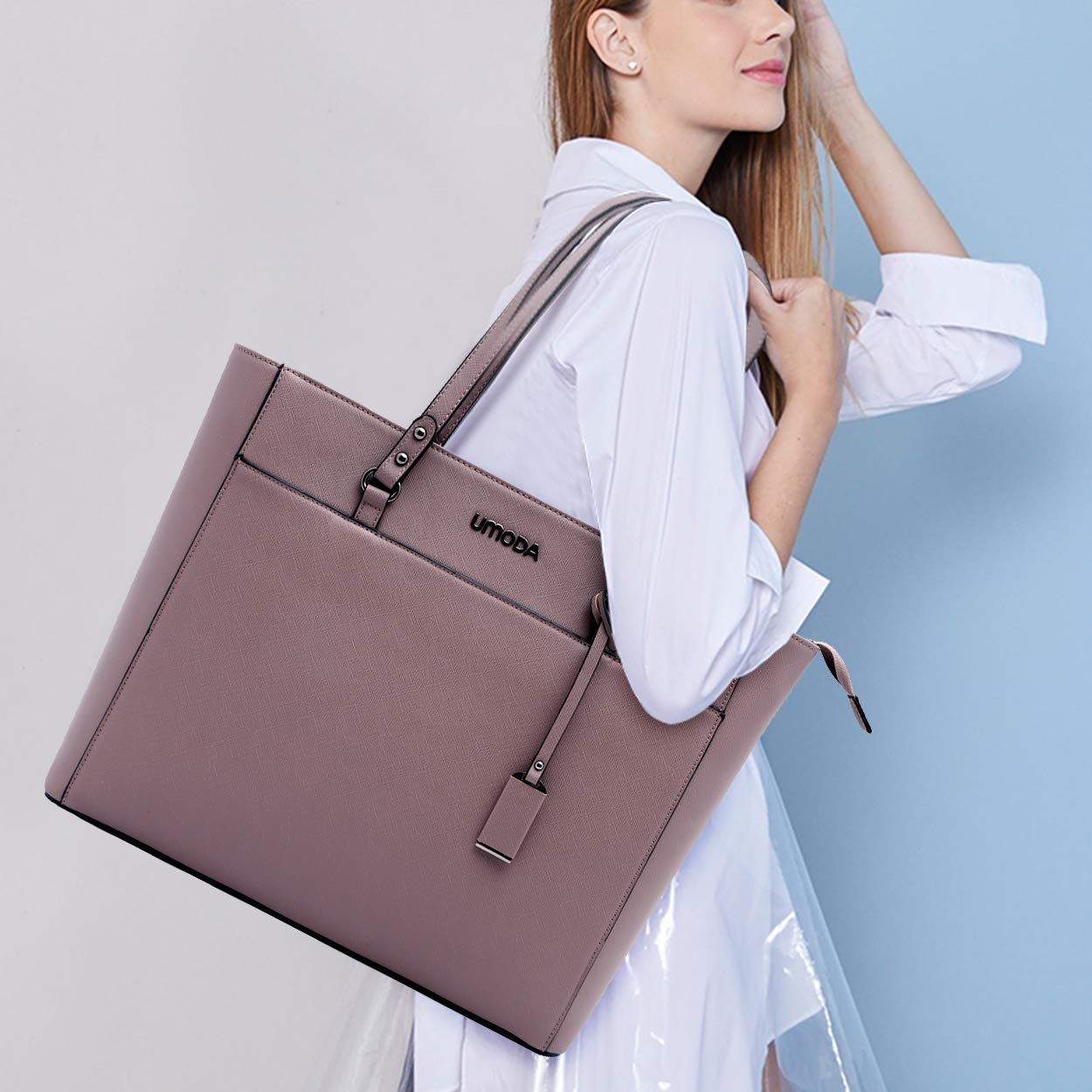 Laptop Bag for Woman,13-15.6 Inch Laptop Tote Bag Briefcase with Padded Compartment, Best [Purple] by UMODA (Image #2)