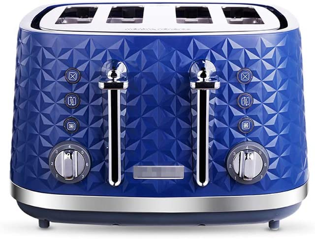 Toaster, 4-slice toaster, home sandwich maker toast with high lift and wide slot, blue