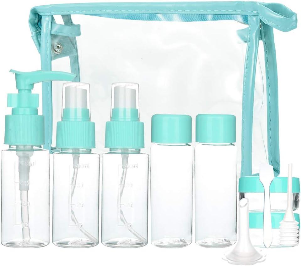 Cizen Set de Botellas Cosméticas (11 Piezas), Recipientes de Viaje para Maquillaje Cosmético, Kit Aseo de Viaje para Avion, Rosa