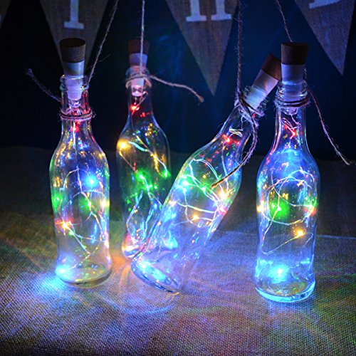 kingleder Wine Bottle USB Rechargeable LED Cork Light String, USB Powered LED Accent Light for Bedroom Living Room Wedding Party Decoration(4 Pack, Multi-Color)