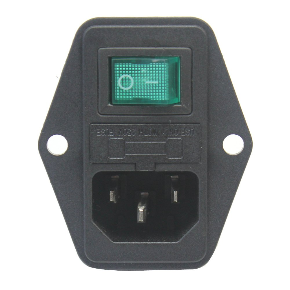 Refaxi C14 Inlet Power Socket Plug On/Off Rocker Switch with Protective Fuse Holder