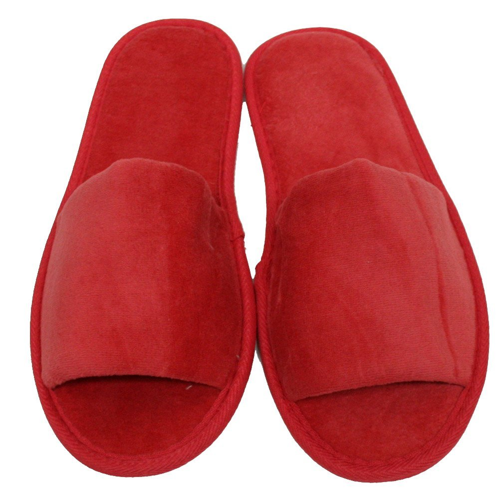 6 One Size Coloured Open Toed Terry Velour SPA Slippers (Berry) NKBK