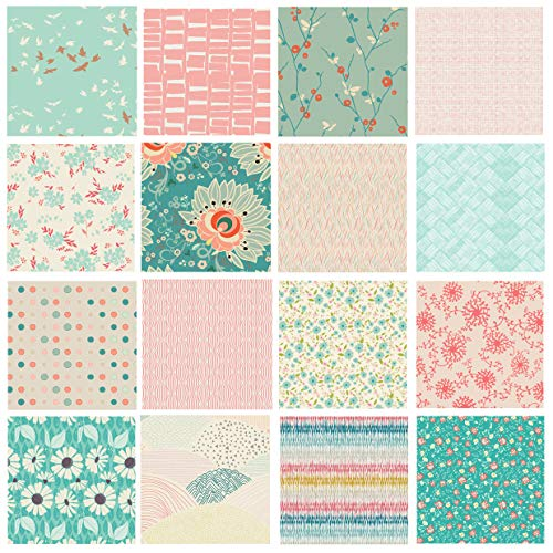 Modern Floral Quilting Bundle | Nursery Fabrics for Girls | Pink Teal Red Fabrics | Rapture Bundle by Pat Bravo for Art Gallery Fabrics | 16 Fabric Bundle (Fat Quarters)