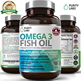 PurityLabs Omega 3 Fish Oil Supplement - With 915mg EPA & 630mg DHA Triple Strength Omega-3, Burpless, Non-GMO, NSF-Certified, 180 Count