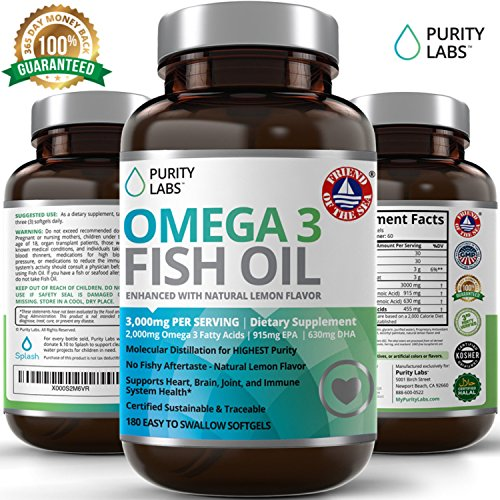 PurityLabs Omega 3 Fish Oil Supplement - With 915mg EPA & 630mg DHA Triple Strength Omega-3, Burpless, Non-GMO, NSF-Certified, 180 Count by Abundant Health