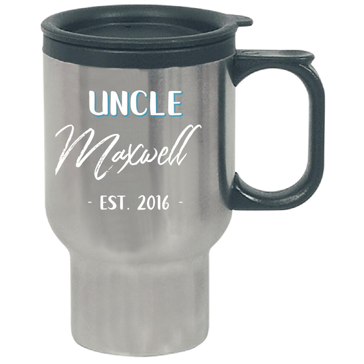 Uncle Maxwell Est. 2016 New Baby Gift Announcement - Travel Mug