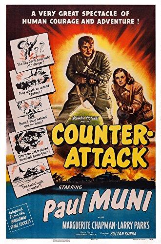 Posterazzi Counter-Attack Us Art from Left: Paul Muni Marguerite Chapman 1945 Movie Masterprint Poster Print, (24 x 36)