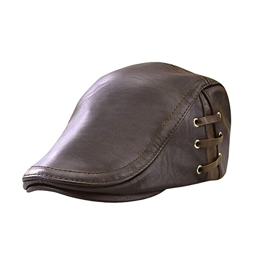 0842e7f2d Men's Leather Newsboy Cap Ivy Gatsby Flat Golf Driving Hunting Hat