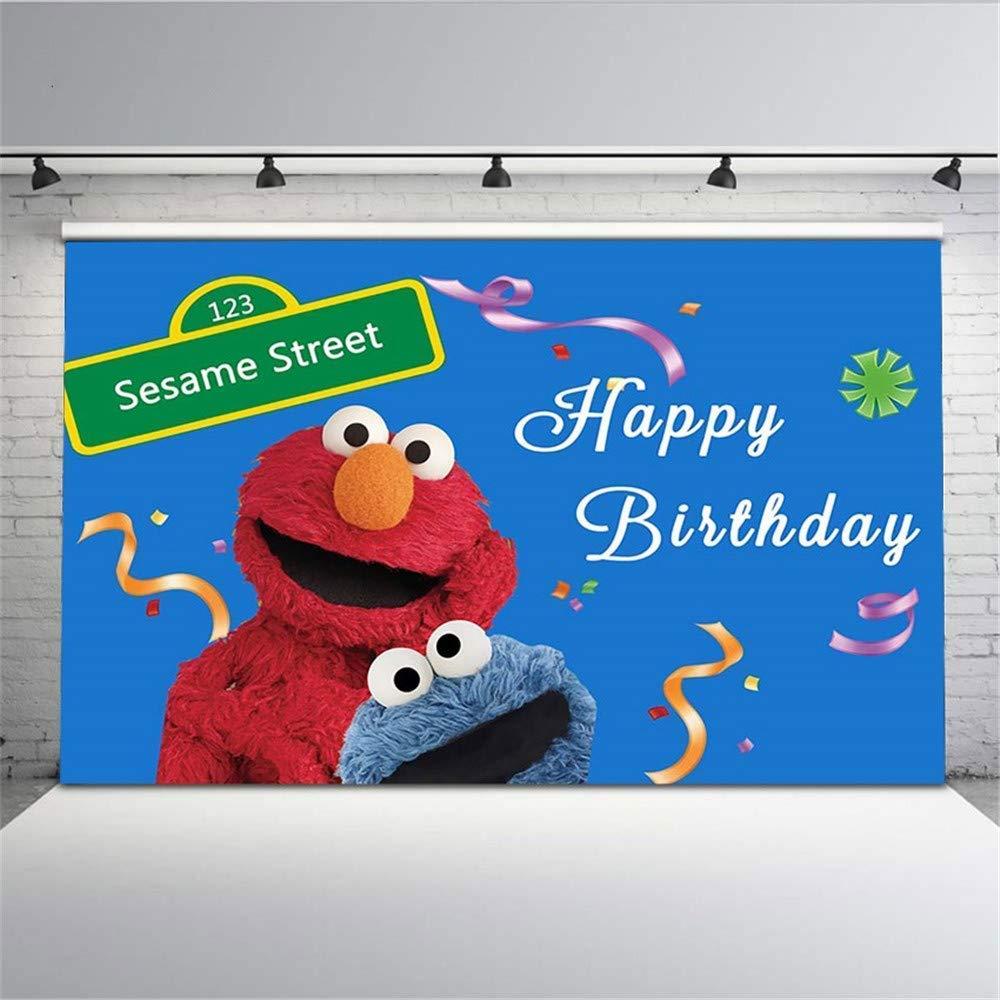 セサミストリートパーティー写真背景 8x8 ブルー ハッピーバースデー背景 エルモ 子供用 カスタムベビー写真 名前入り 誕生日写真 背景   B07KGMW1BW