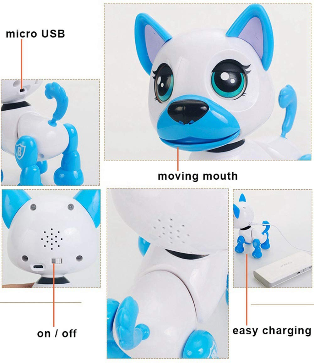 amdohai Interactive Puppy - Smart Pet, Electronic Robot Dog Toys for Age 3 4 5 6 7 8 Year Old Girls, Gifts Idea for Kids ● Voice Control&Intelligent Talking (Pink) by amdohai (Image #7)