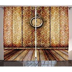 Victorian Decor Curtains by Ambesonne, Antique Clock on Medieval Style Wall Wooden Floor Classic Architecture Theme Art, Living Room Bedroom Decor, 2 Panel Set, 108 W X 90 L Inches, Beige Brown