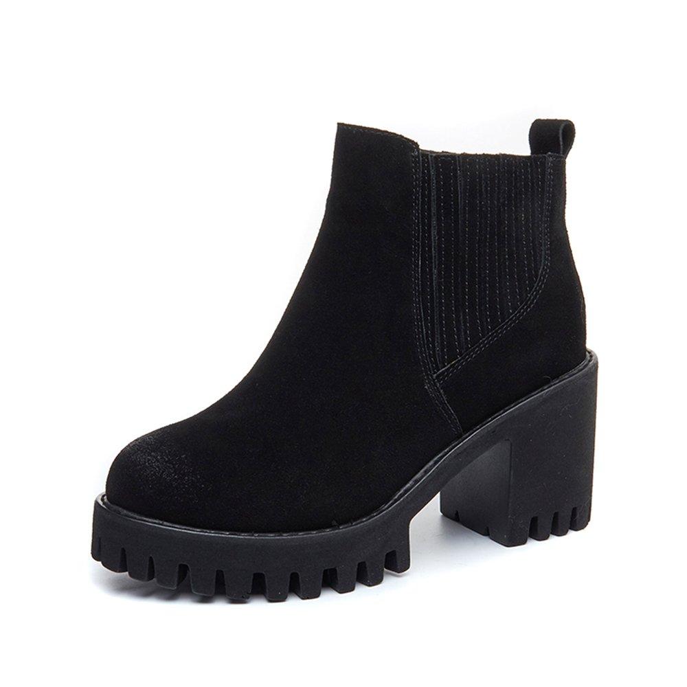 sexy britannique Bottes pour ) femmes Hiver Nubuck Chunky Noir Heel Noir Marron Bottes courtes Style britannique ( Couleur : Noir , taille : EU39/UK6/CN39 ) Noir 6ab0680 - robotanarchy.space