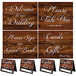 Wedding Signs | Rustic Wood Look Wedding Sign Set With Welcome To Our Wedding, Please Sign Our Guest Book, Cards And Gifts, Please Take One, and 4 Capture The Love Hashtag Table Signs