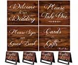 Cheap Wedding Signs | Rustic Wood Look Wedding Sign Set With Welcome To Our Wedding, Please Sign Our Guest Book, Cards And Gifts, Please Take One, and 4 Capture The Love Hashtag Table Signs