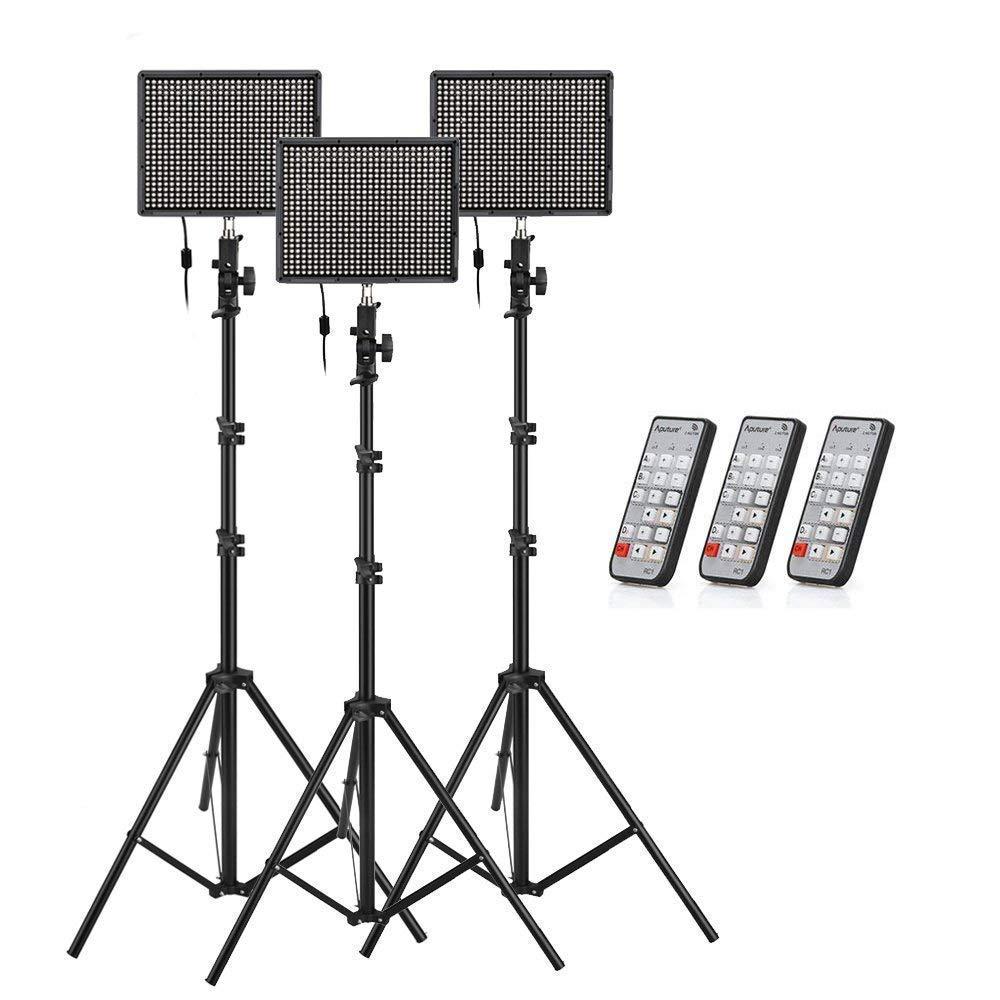 Aputure (HR672S * 3) 672 LEDビデオライト パネル LED スタジオライティングキット 2.4G FSK リモートコントロール   B00TDJAQI0