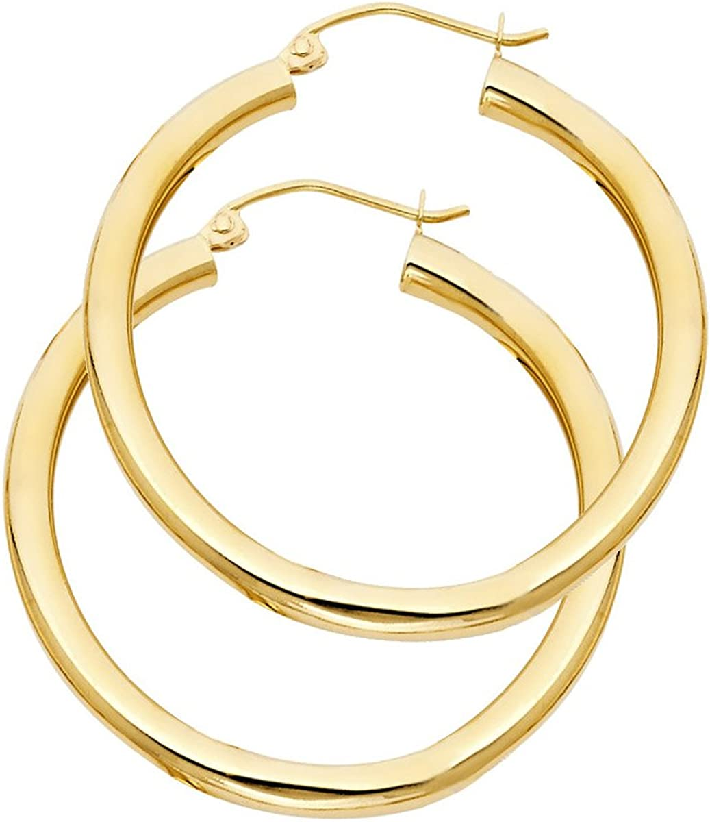 14k Yellow Gold 3mm Thickness Hinged Plain Hoop Earrings Diameter -35mm