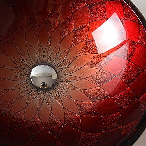 ROUFU /Évier de salle de bains,Vasque ronde rouge en verre tremp/é avec robinet cascade Up Drain et bague de fixation Pop