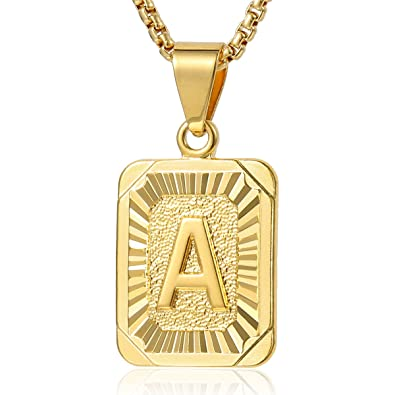 Trendsmax Initial Letter C Pendant Necklace Gold Plated Square Womens Mens Chain Box Link rMSinye5C