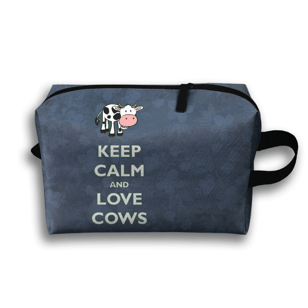 Keep Calm And Love Cows Travel Bag Multifunction Portable Toiletry Bag Organizer Storage