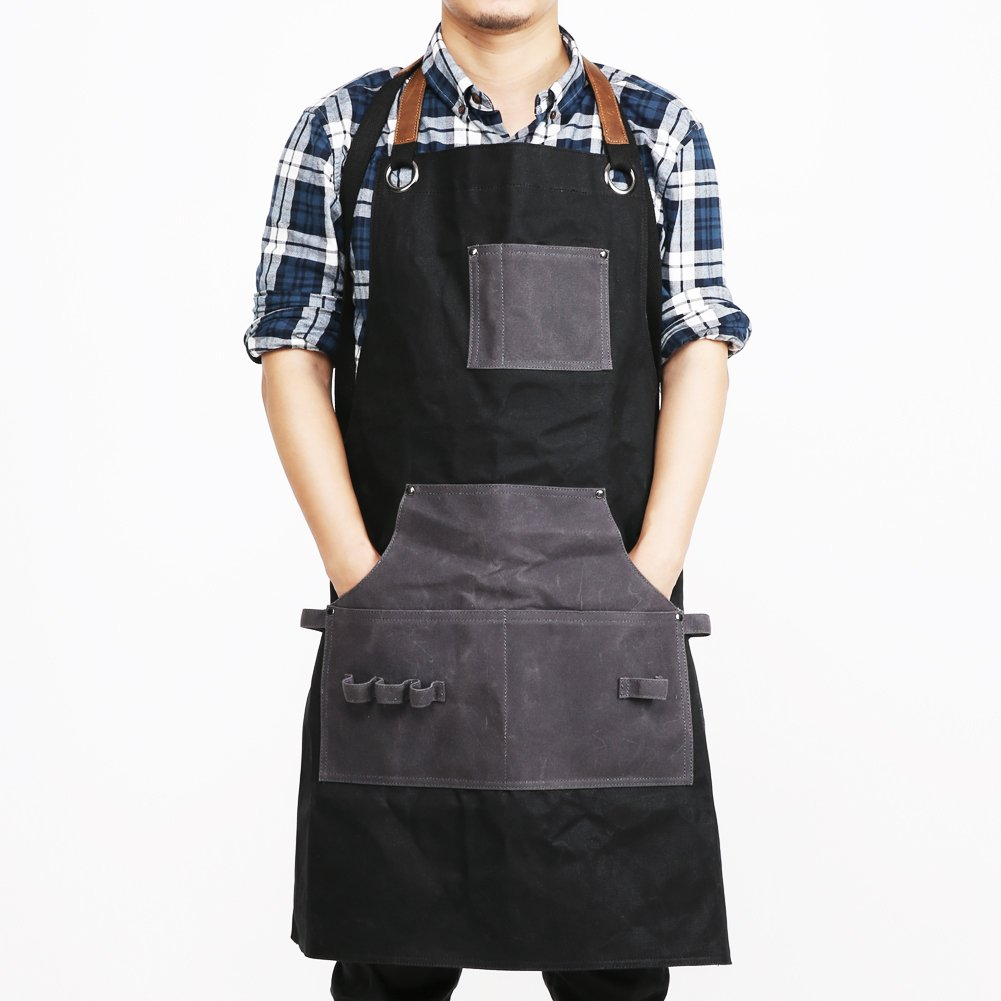 Mens Waxed Apron Canvas Shop Working Aprons with Tool Pockets Adjustable Leather Straps Up to XXL Heavy Duty, Water-resistant, Classic Black