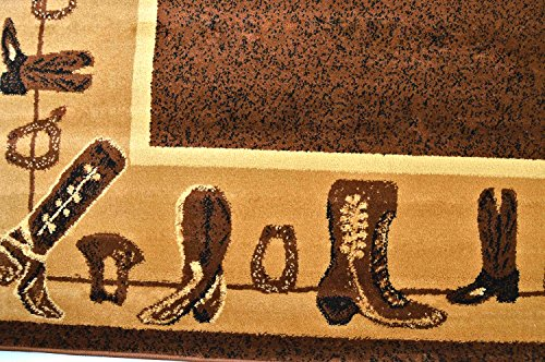 """Rugs 4 Less Collection Cowboy Western Cabin Style Lodge Area Rug Design R4L 375 (5'2\""""X7'3\"""")"""