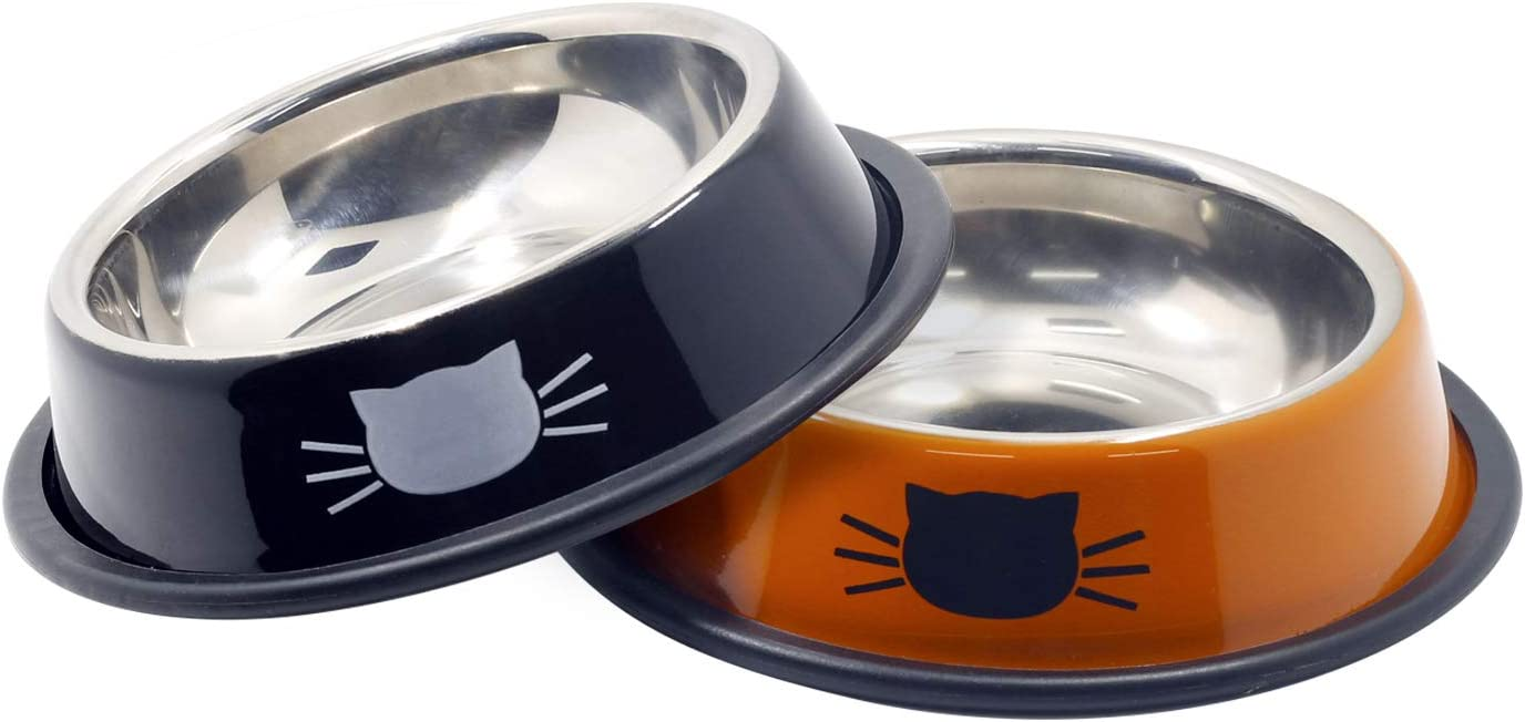 Ureverbasic Cat Bowls Stainless Steel Dog Bowl 8oz for Small Pets Puppy Kitten Rabbit Non-Skid Cat Food Bowls Easy to Clean Durable Cat Dish for Food and Water (Black / Orange)
