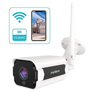 Cámara de Vigilancia Exterior, CACAGOO 1536P HD Cámara IP Wi-Fi CCTV Inalámbrica 2.4Ghz, Impermeable IP66, Versión Nocturna,Detección de Movimiento, ...