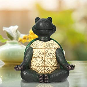 Zen Yoga Tortoise Statues Outdoor or Indoor, Meditation Feng Shui Vastu Animal Figurines for Garden Patio or Lawn,9