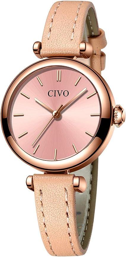 CIVO Relojes Mujer Minimalista Impermeable Rosado Reloj de Pulsera ...