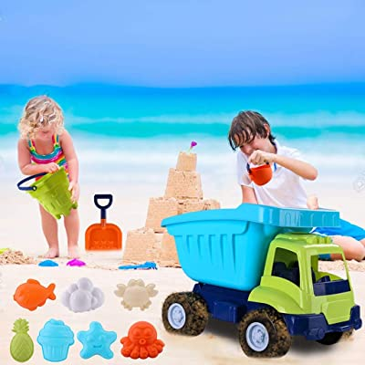 Beach Toys Deluxe Playset for Kids, Truck & Sand Bucket Set, 11 Pieces Large Dump Truck Sand Shovel Set, Load & Tote Dump Truck Indoor/Outdoor Beach Sand Toy Toys (Multicolour): Pet Supplies
