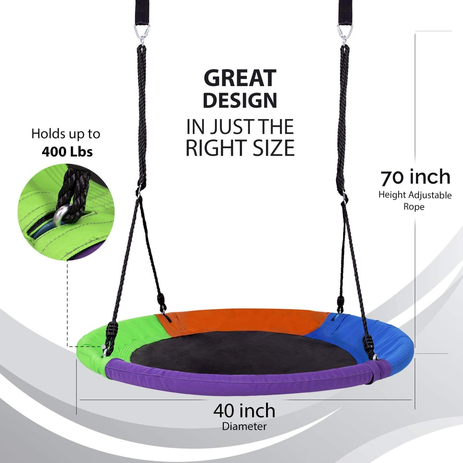Outdoor Round Tree Swing for Kids - 40'' Saucer Tree Swing for Kids-Large Tree Swings for Children - 400 lbs Tree Swings for Outside with Hanging Kit by Hazli (Image #3)