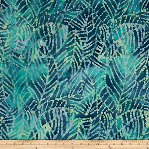 Textile Creations Indian Batik Moody Leaf Abstract Blue/Green Fabric by The ()