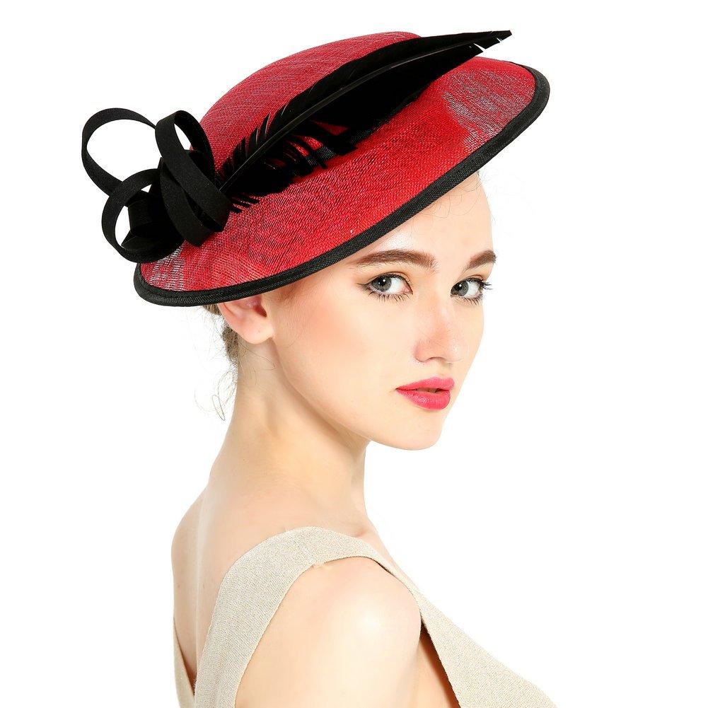 HBF Sombrero Mujer Hilo De Lino Sombrero De Mujer Para Verano Playa Boda 529877f6910